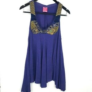 Free People Embroidered Purple Long Tunic